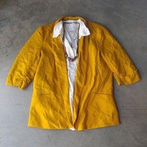 Bar III Gold Yellow Shawl Collar Blazer large
